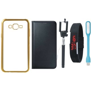 Chrome Tpu Back Cover with Golden Border for Oppo Neo 5 with Free Leather Finish Flip Cover, Selfie Stick, Digtal Watch and USB LED Light