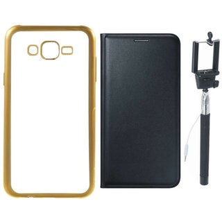 Redmi 2 Prime Golden Edge Silicon Back Cover with Free Leather Finish Flip Cover and Selfie Stick