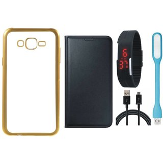 Oppo Neo 7 Golden Edge Silicon Back Cover with Free Leather Finish Flip Cover, Digital Watch, USB LED Light and USB Cable