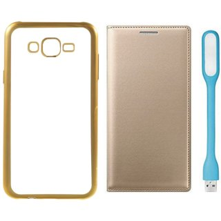 Chrome Tpu Back Cover with Golden Border for Oppo Neo 7 with Free Leather Finish Flip Cover, USB LED Light