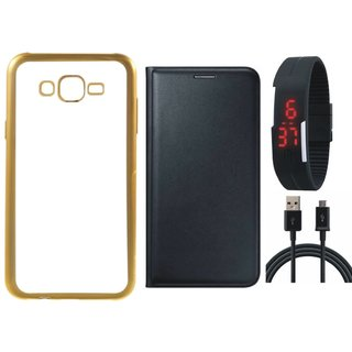 Redmi 2 Prime Silicon Back Cover with Golden Electroplated Edges with Free Leather Finish Flip Cover, Digital Watch and USB Cable