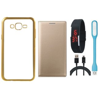 Redmi 2 Prime Silicon Back Cover with Golden Electroplated Edges with Free Leather Finish Flip Cover, Digital Watch, USB LED Light and USB Cable