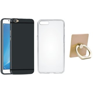 Vivo V7 Plus Cover with Ring Stand Holder, Silicon Back Cover, Free Silicon Back Cover