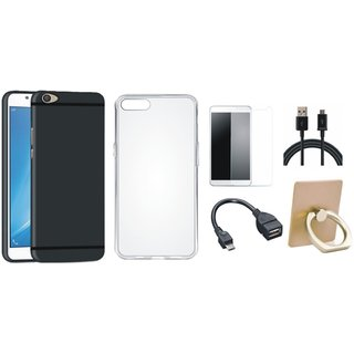 Vivo V7 Plus Cover with Ring Stand Holder, Silicon Back Cover, Tempered Glass, OTG Cable and USB Cable