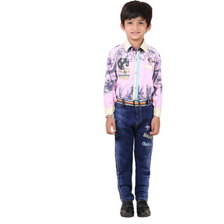 Crazeis Cotton Shirt With Denim Jeans For Boys