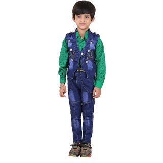 Crazeis Cotton Shirt, Denim Jeans With Beautiful Denim Jacket For Boys