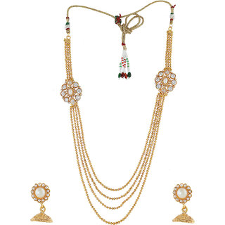 Anuradha Art Golden Colour Styled With Multiple Layer Classy Traditional Long Necklace Set For Women/Girls