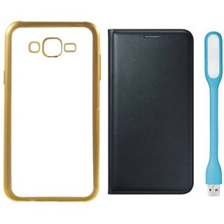 Redmi 3s Golden Edge Silicon Back Cover with Free Leather Finish Flip Cover, USB LED Light