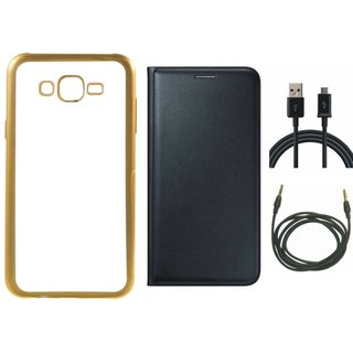 Redmi 3s Prime Chrome TPU Silicon Back Cover with Free Premium Leather Finish Flip Cover, free USB Cable and Free AUX Cable