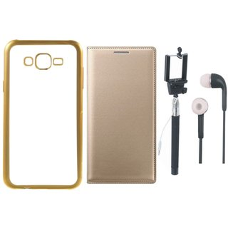 Redmi 3s Prime Back Cover with Free Leather Finish Flip Cover, Selfie Stick and Earphones