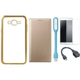 Chrome Tpu Back Cover with Golden Border for Redmi 3s Prime with Free Leather Finish Flip Cover, Tempered Glass, USB LED Light and OTG Cable