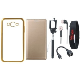 Redmi 3s Golden Edge Silicon Back Cover with Free Leather Finish Flip Cover, Selfie Stick, Digtal Watch, Earphones and OTG Cable