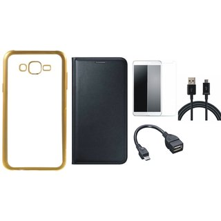 Redmi 3s Silicon Back Cover with Golden Electroplated Edges with Free Leather Finish Flip Cover, Tempered Glass, OTG Cable and USB Cable