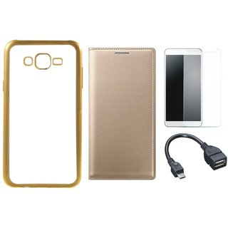 Chrome Tpu Back Cover with Golden Border for Redmi 3s Prime with Free Leather Finish Flip Cover, Tempered Glass and OTG Cable