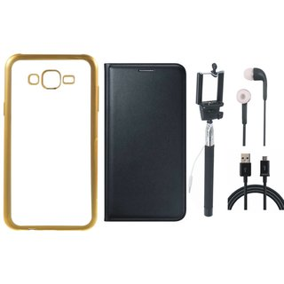 Redmi 3s Silicon Back Cover with Golden Electroplated Edges with Free Leather Finish Flip Cover, Selfie Stick, Earphones and USB Cable
