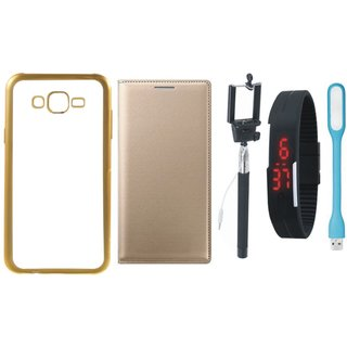 Redmi 3s Silicon Back Cover with Golden Electroplated Edges with Free Leather Finish Flip Cover, Selfie Stick, Digtal Watch and USB LED Light