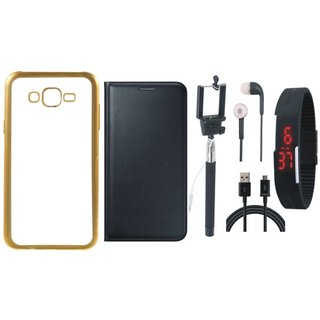 Redmi 3s Golden Edge Silicon Back Cover with Free Leather Finish Flip Cover, Selfie Stick, Digtal Watch, Earphones and USB Cable