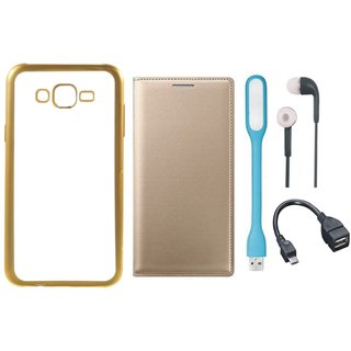 Redmi 3s Chrome TPU Silicon Back Cover with Free Premium Leather Finish Flip Cover, free Earphones, free USB LED Light and Free OTG Cable