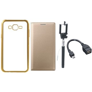 Redmi 3s Chrome TPU Silicon Back Cover with Free Premium Leather Finish Flip Cover, free Selfie Stick and Free OTG Cable