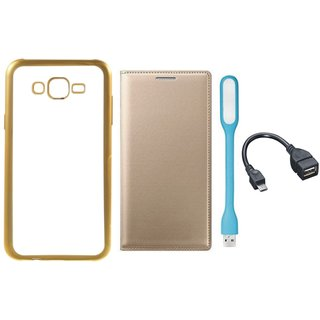 Redmi 3s Back Cover with Free Leather Finish Flip Cover, USB LED Light and OTG Cable