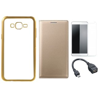 Redmi 3s Chrome TPU Silicon Back Cover with Free Premium Leather Finish Flip Cover, free Tempered Glass and Free OTG Cable