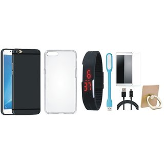 Vivo V7 Cover with Ring Stand Holder, Free Digital LED Watch, Tempered Glass, LED Light and USB Cable