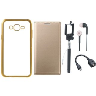 Vivo V5 Plus Chrome TPU Silicon Back Cover with Free Premium Leather Finish Flip Cover, free Selfie Stick, free Earphones and Free OTG Cable