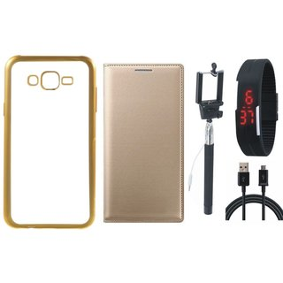 Vivo V5 Plus Back Cover with Free Leather Finish Flip Cover, Selfie Stick, Digtal Watch and USB Cable