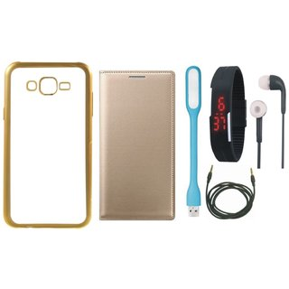 Vivo V3 Back Cover with Free Leather Finish Flip Cover, Digital Watch, Earphones, USB LED Light and AUX Cable