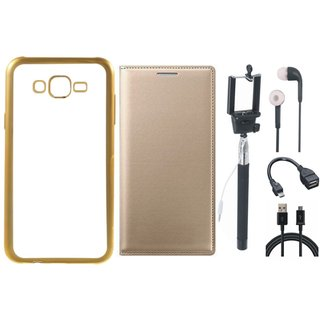 Vivo V5 Plus Silicon Back Cover with Golden Electroplated Edges with Free Leather Finish Flip Cover, Selfie Stick, Earphones, OTG Cable and USB Cable
