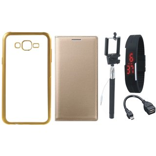 Vivo V5 Plus Silicon Back Cover with Golden Electroplated Edges with Free Leather Finish Flip Cover, Selfie Stick, Digtal Watch and OTG Cable