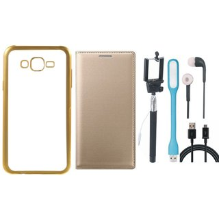 Vivo V5 Plus Silicon Back Cover with Golden Electroplated Edges with Free Leather Finish Flip Cover, Selfie Stick, Earphones, USB LED Light and USB Cable