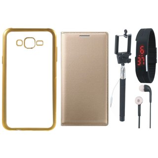 Vivo V5 Plus Silicon Back Cover with Golden Electroplated Edges with Free Leather Finish Flip Cover, Selfie Stick, Digtal Watch and Earphones