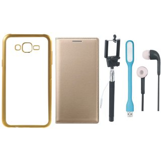 Chrome Tpu Back Cover with Golden Border for Vivo V3 with Free Leather Finish Flip Cover, Selfie Stick, Earphones and USB LED Light