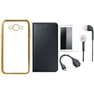 Vivo V5 Plus Back Cover with Free Leather Finish Flip Cover, Tempered Glass, Earphones and OTG Cable