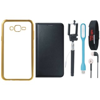 Chrome Tpu Back Cover with Golden Border for Vivo V5 Plus with Free Leather Finish Flip Cover, Selfie Stick, Digtal Watch, Earphones and USB LED Light