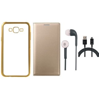Vivo V5 Plus Silicon Back Cover with Golden Electroplated Edges with Free Leather Finish Flip Cover, Earphones and USB Cable