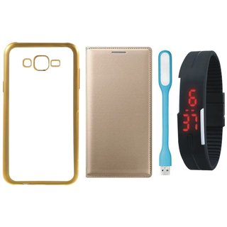 Vivo V5 Plus Back Cover with Free Leather Finish Flip Cover, Digital Watch and USB LED Light