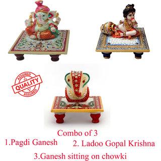 Pagdi Ganesh/ Laddo Gopal Krishna / Ganesh idol sitting on chowki /combo of 3 /Marble /meenakari and Kundan work