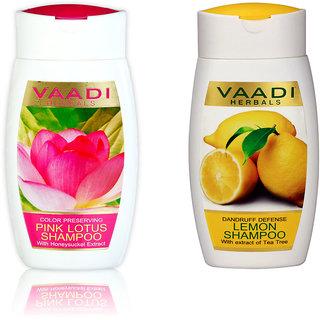 Vaadi Herbals LEMON AND PINK LOTUS SHAMPOO Pack of 2(110mlX2)