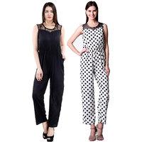 Westrobe Women Black Plain And White Polka Dot Printed Jumpsuits Combo