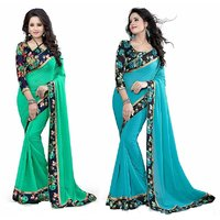 Roshni Fashions New Combo Of Rama And Sky Blue Saree With Blouse Piece(Sky blue-rama)