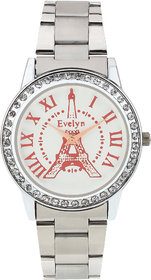 Evelyn Eiffel Tower White Dial Analogue Metal Strap Wrist Watch For Girls - Women -eve-557