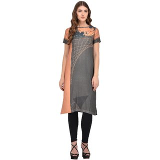 Thankar Grey  Orange Printed Digital Cotton Stitched Kurti