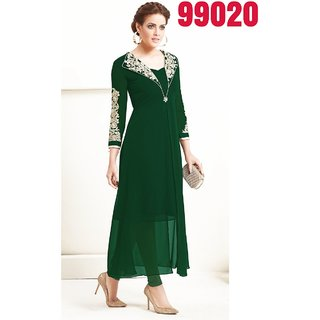 Madhvi Fashion New  Gorgeous Green Pure Georgette Straight Fit Kurtis