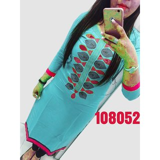 Madhvi Fashion New  Gorgeous Cyan Pure Georgette Straight Fit Kurtis