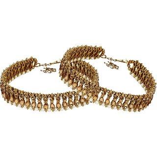 Jewels Gold Alloy Designer Latest Anklet For Women  Girls