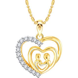 Vidhi Jewels Gold Plated Love Couple Heart Diamond Studded Alloy  Brass Pendant  for Women  Girls VP252G