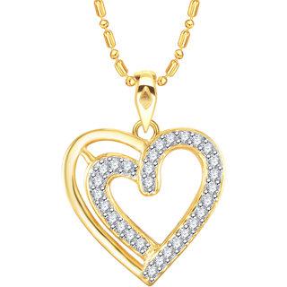Vidhi Jewels Gold Plated Couple Heart Diamond Studded Alloy  Brass Pendant  for Women  Girls VP254G
