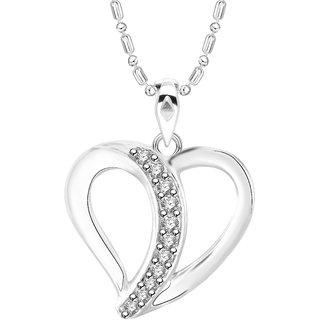 Vidhi Jewels Rhodium Plated Heart Diamond Studded Alloy  Brass Pendant  for Women  Girls VP249R